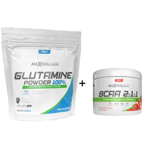 Paket Maximalium Bcaa 400g + L-Glutamine 500g